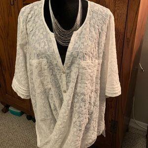 Sheer cross over blouse